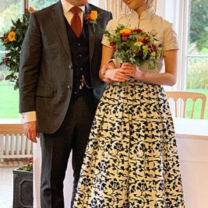 Bespoke wedding dress with nankeen fabric