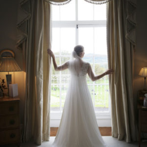 bespoke lace and silk wedding dress