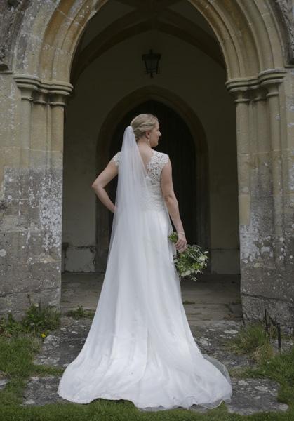 bespoke lace and silk wedding dress
