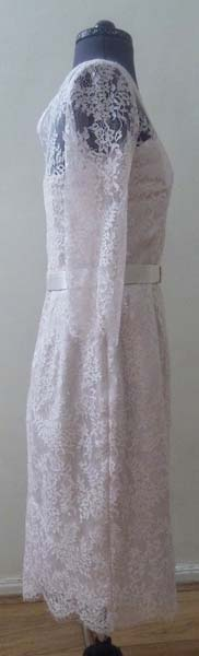 Leavers lace and silk satin cocktail dress