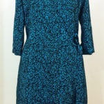 Overlapped dress in blue green willow wood printed pattern